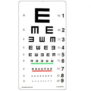 Tumbling E 20 ft Distance Chart